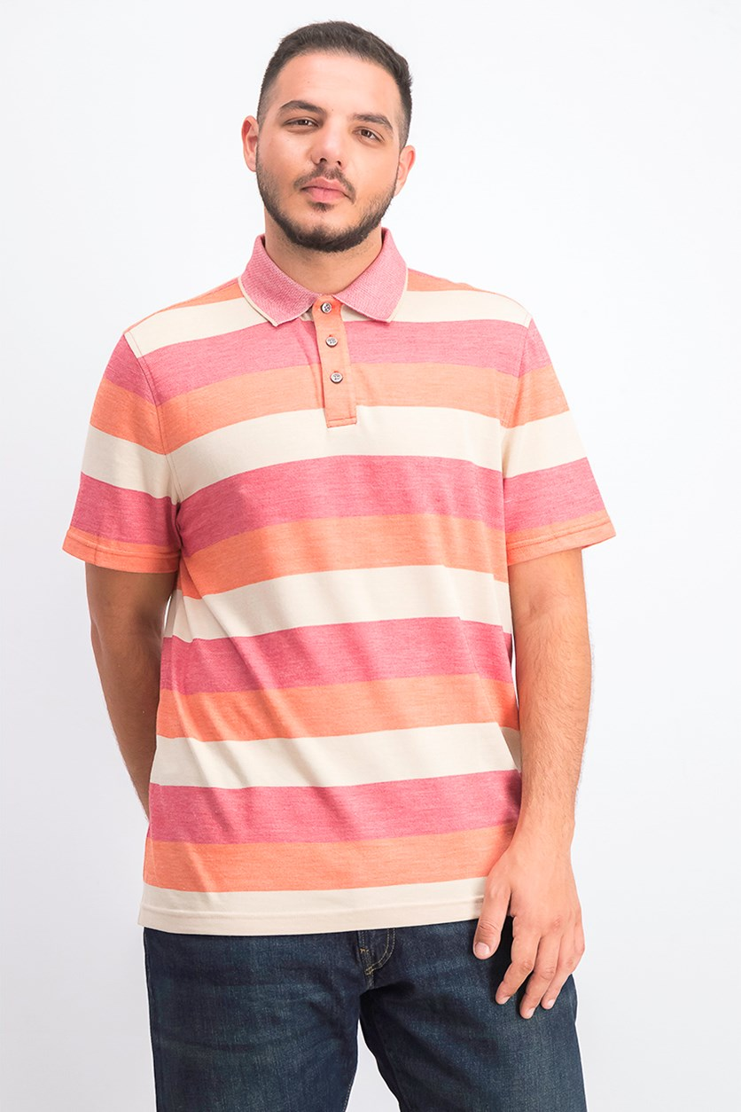 Mens Classic-Fit Striped Polo, Sunset Red