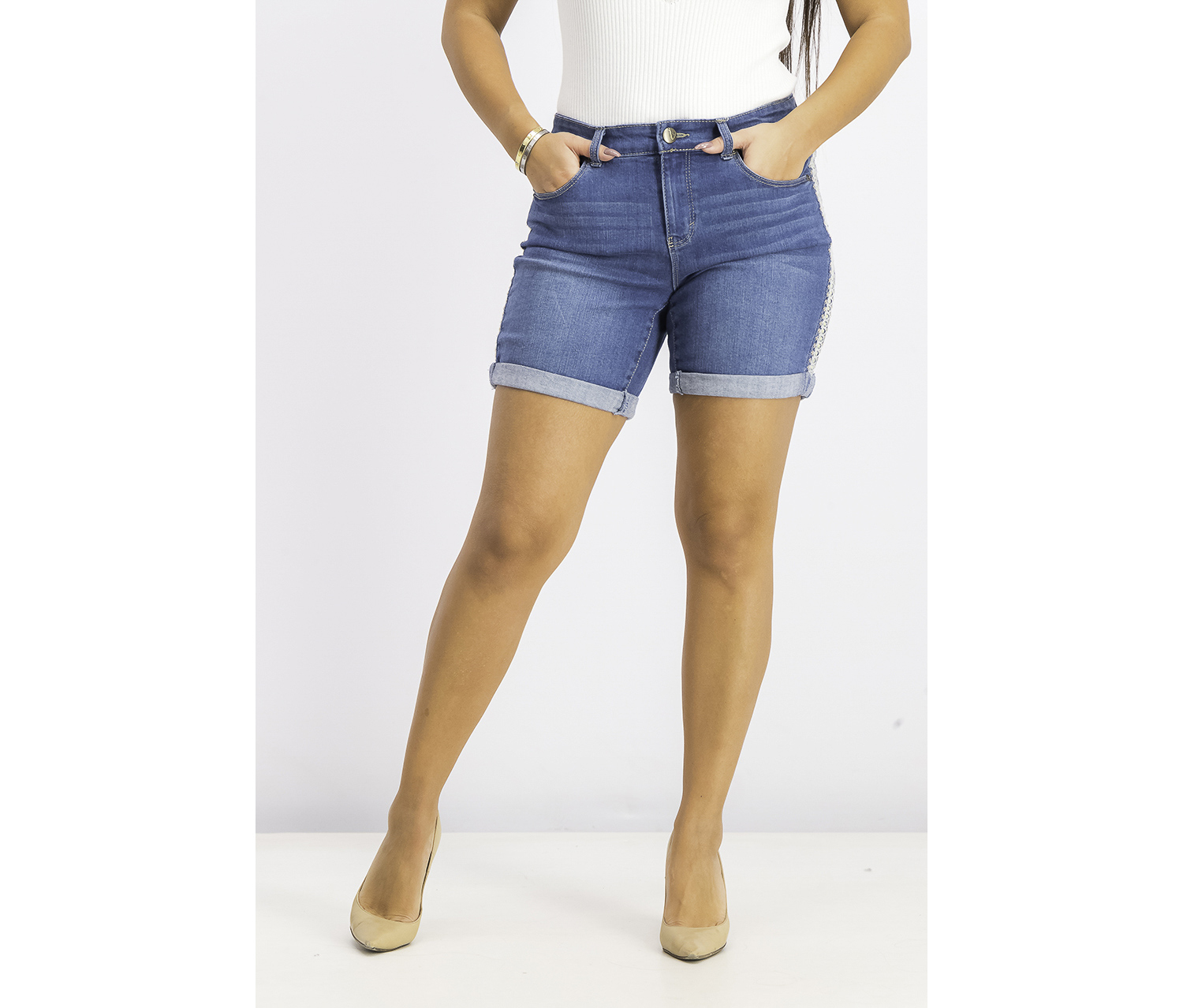 Women's Embroidered Cuffed Denim Shorts, Ezequiel