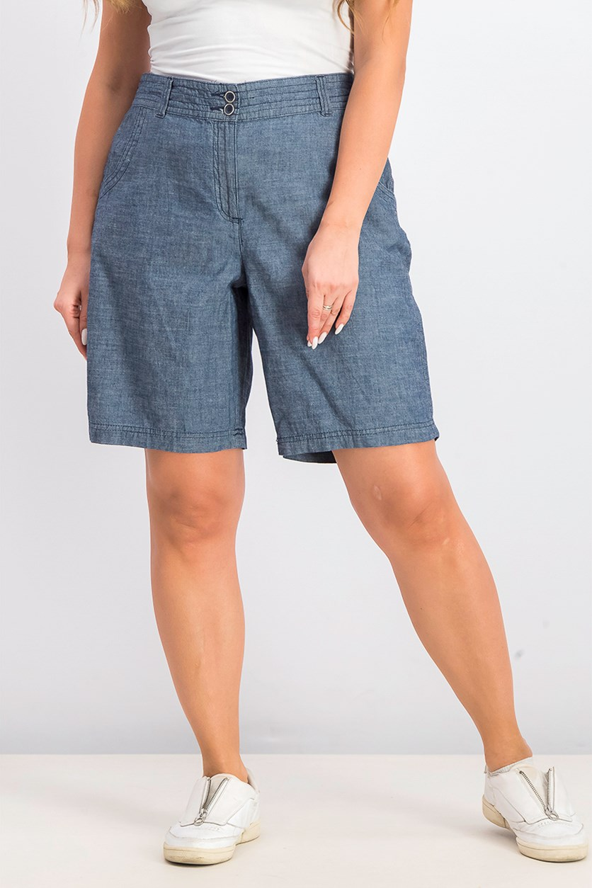 Women's Cotton Chambray Shorts, Blue