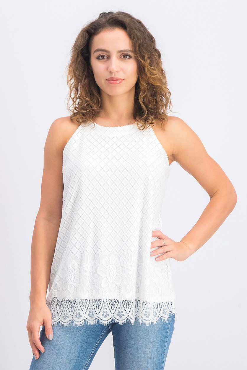 Women's Sleeveless Lace-Trim Top, White