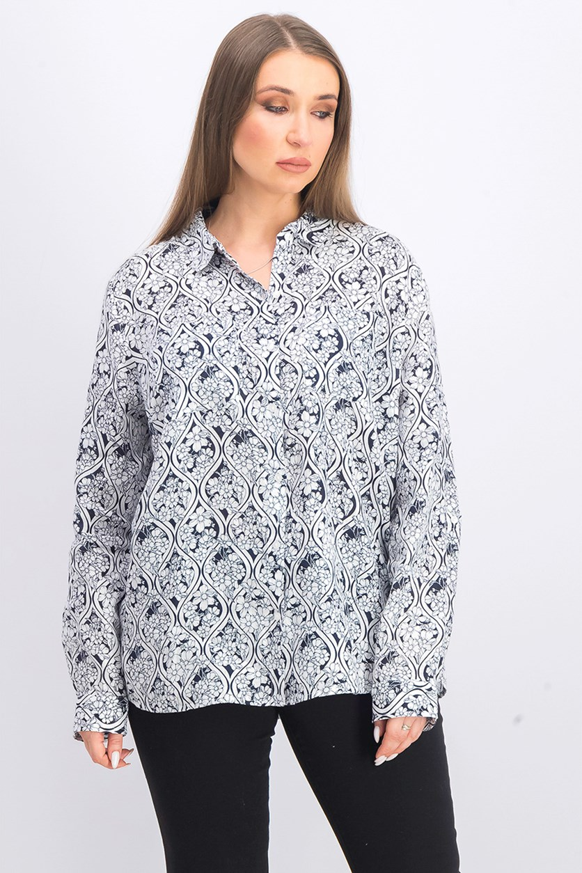 Women's Printed Linen Roll-Tab-Sleeve Shirt, Bright White Combo