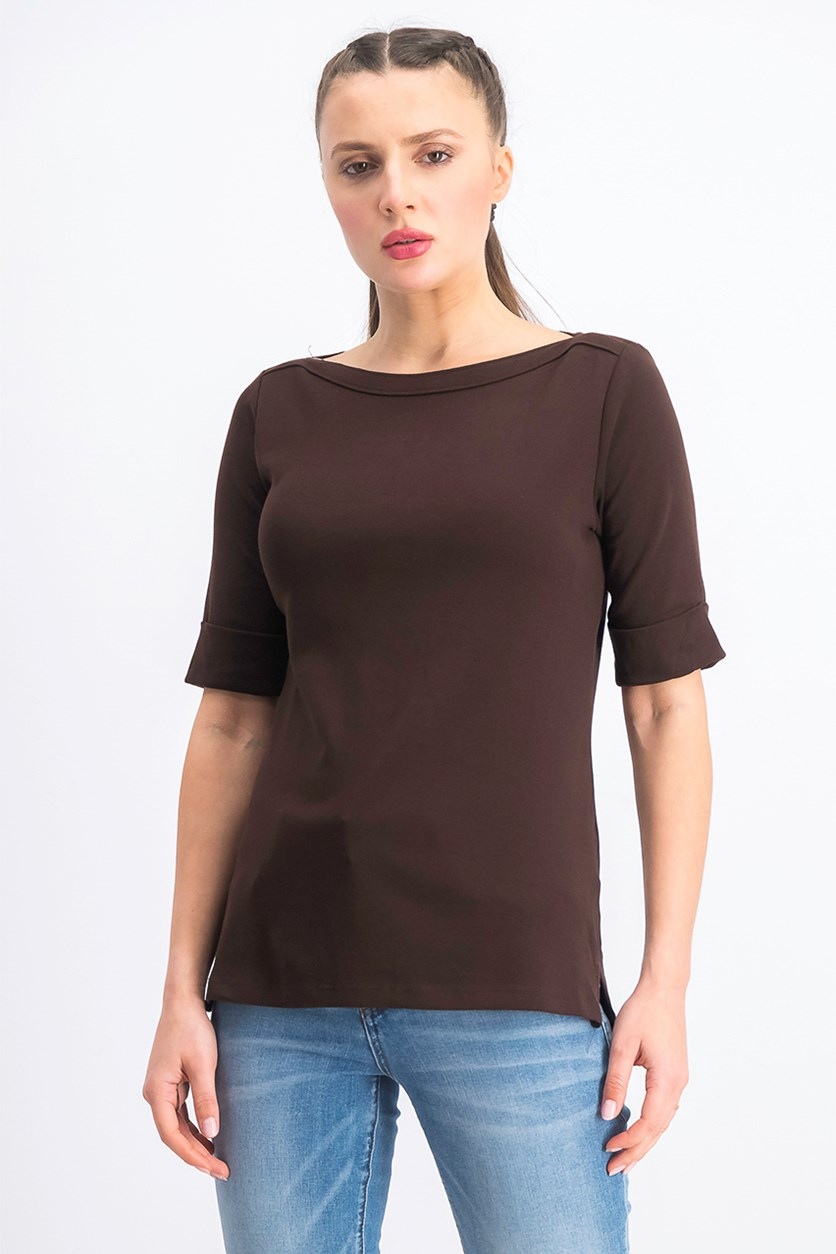 Women's Cotton Elbow-Sleeve Top, Chocolate