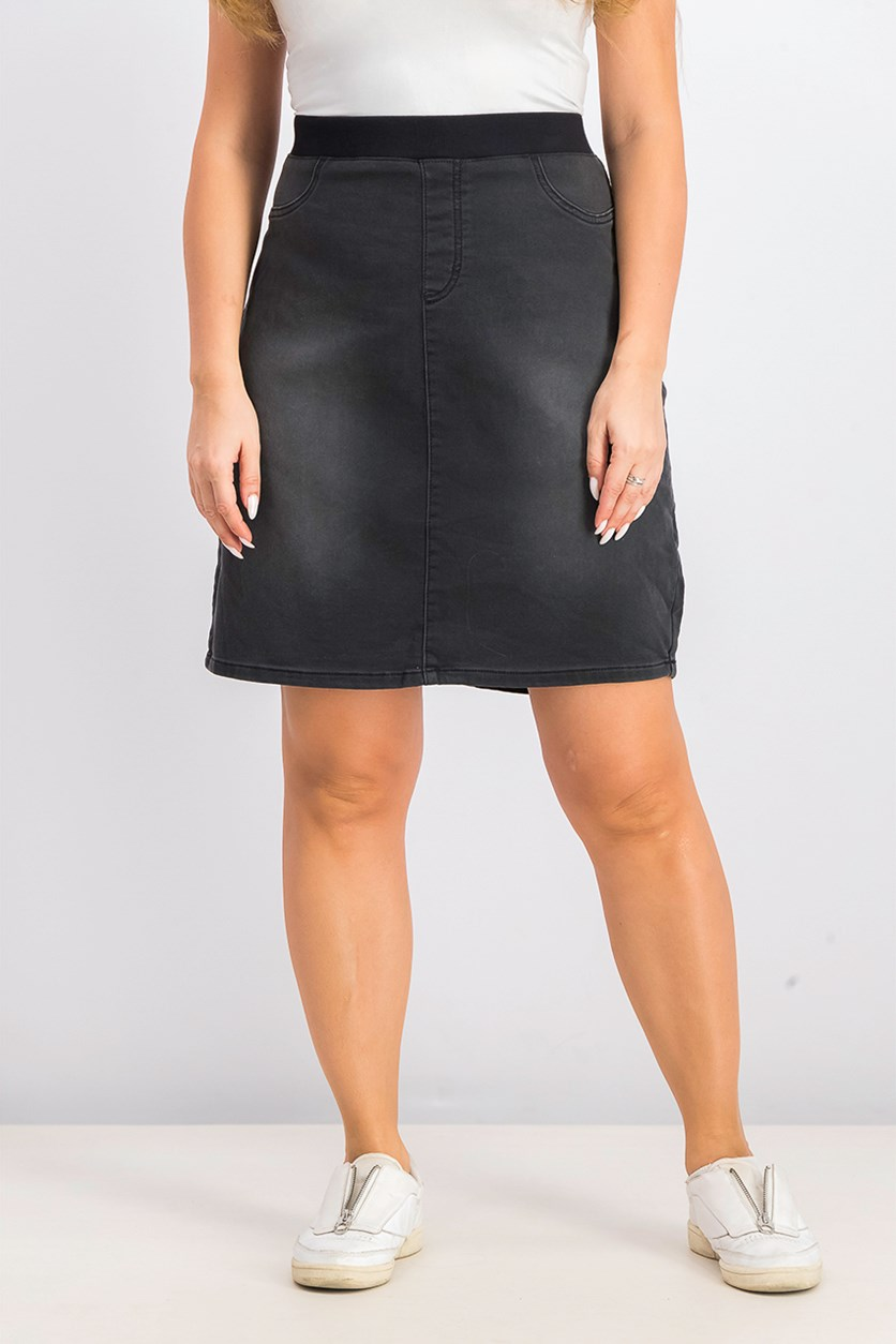 Women's Pull On Denim Skirts, Black Smudge