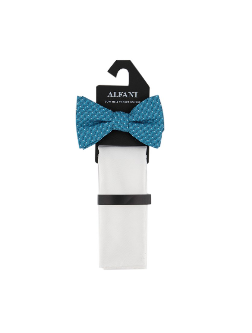 Men's Geometric Pre-Tied Bow Tie & Solid Pocket Square Set, White/Blue Combo