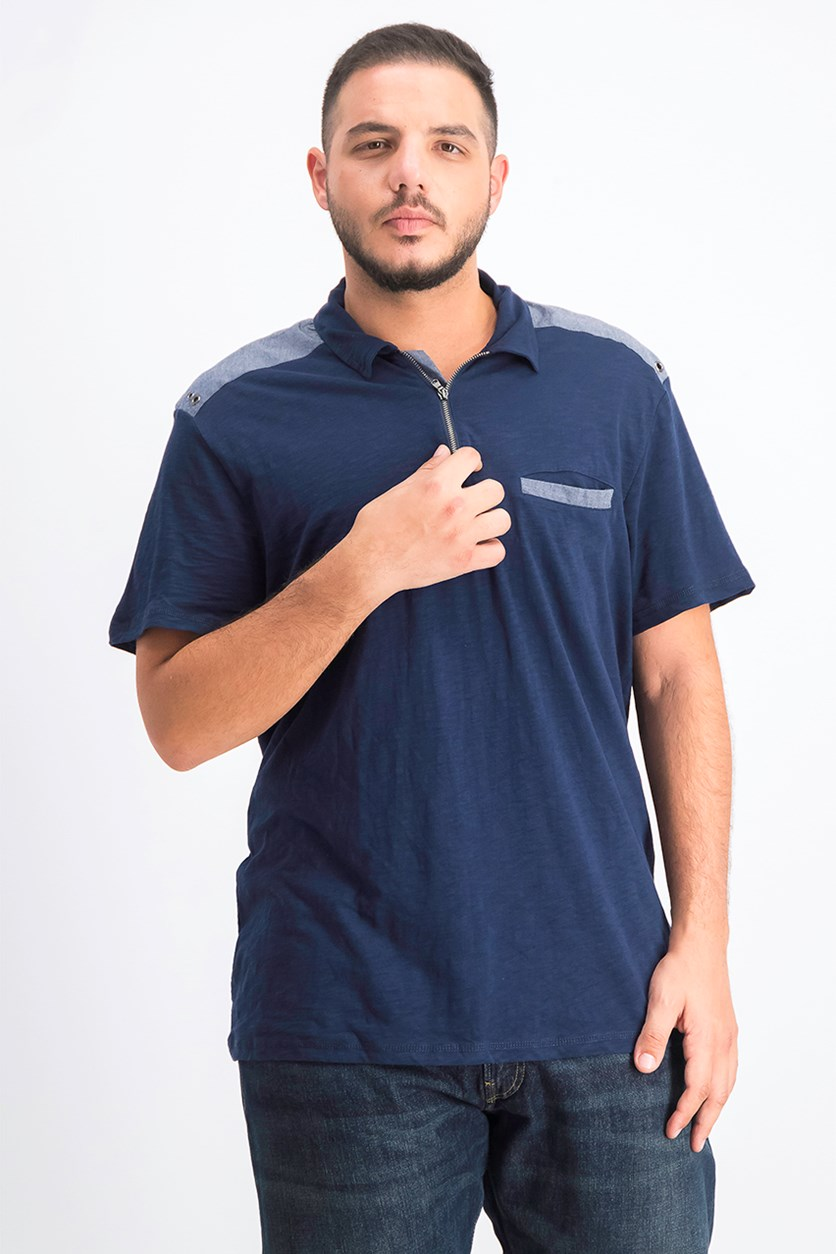 Men's Chambray Trim Zip Polo, Basic Navy