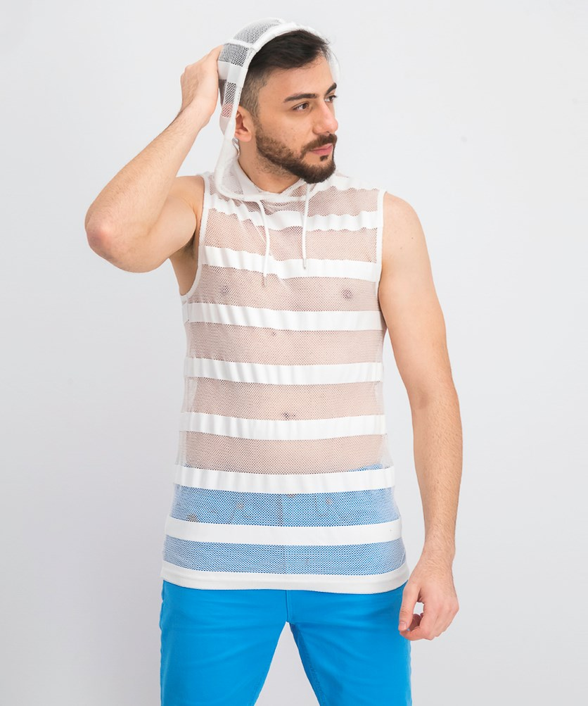 Men's Hooded Striped Mesh Tank, White Pure
