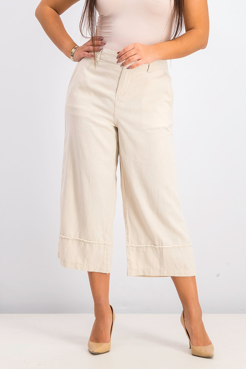 Women's Frayed-Trim Capris, River Rock