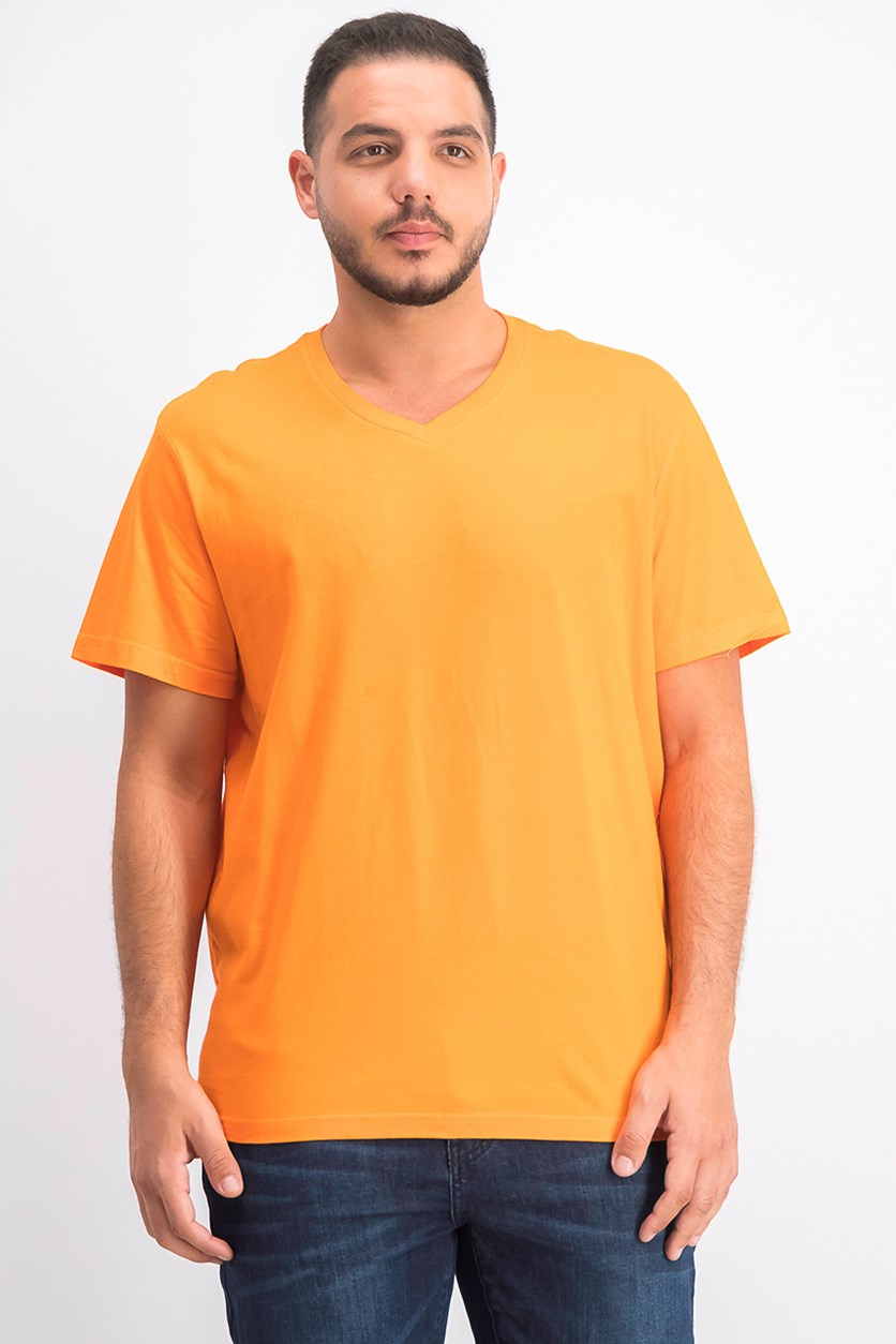 Men's Solid V-Neck T-Shirt, Exotic Orange