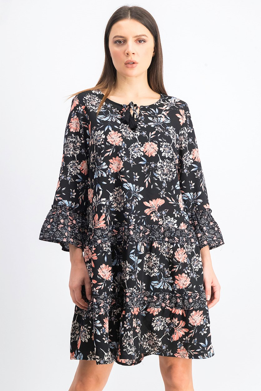 Women's Printed Tiered Dress, Black Bloomtime