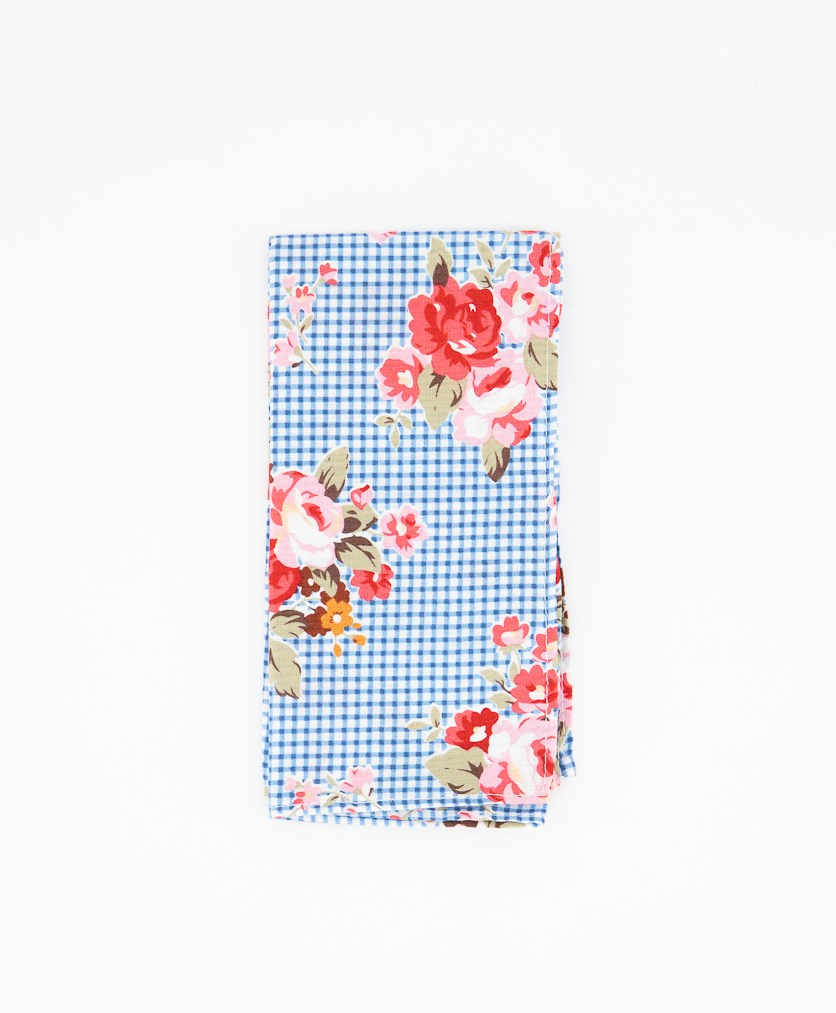 Men's Blossom Gingham Pocket Square, Blue Combo