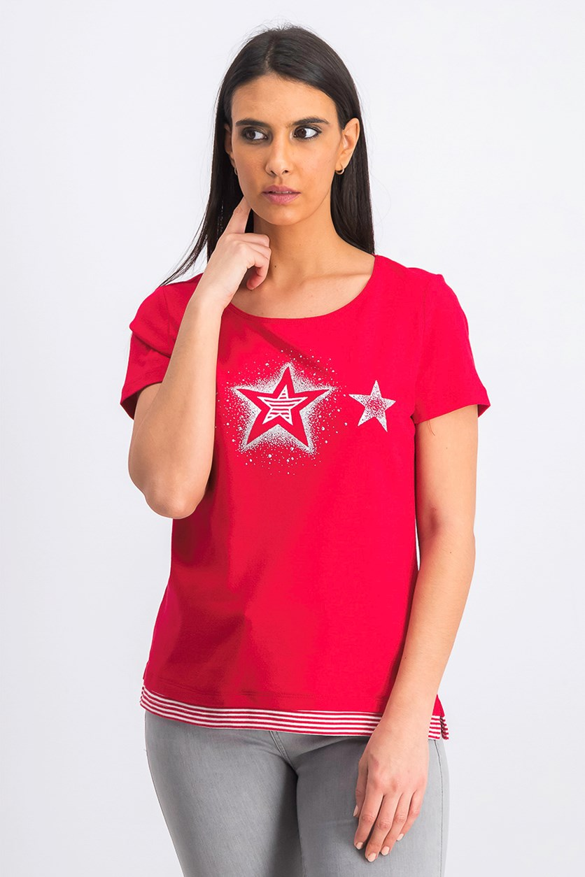 Women's Pullover Graphic Star Tops, Red Amore