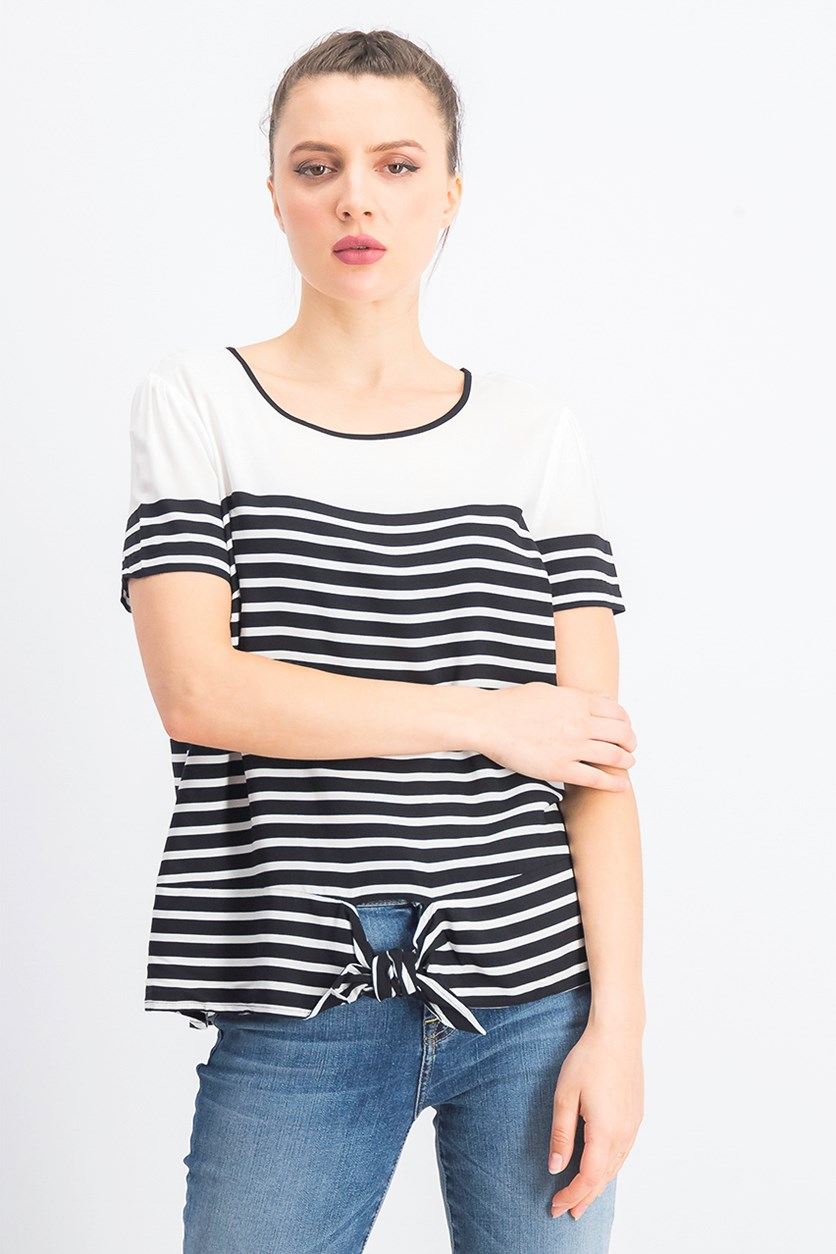 Women's Woven Striped Blouse, Black/White