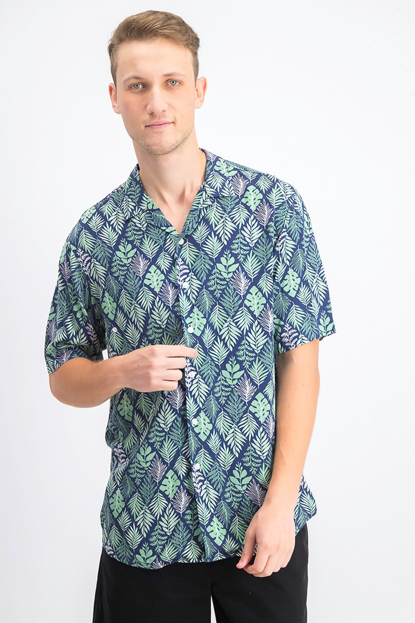 Men's Diamond Leaf-Print Camp Collar Shirt, Navy/Green