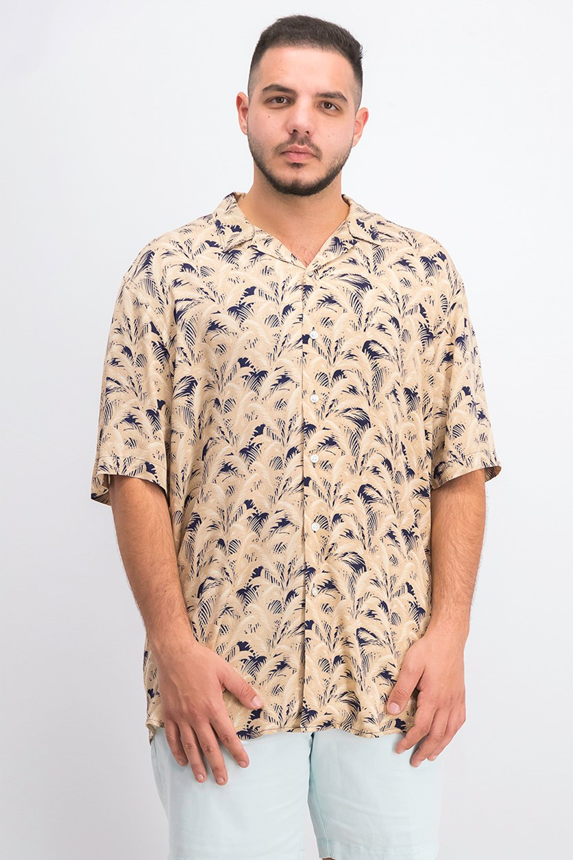 Men's Palm-Print Shirt, Dried Grain