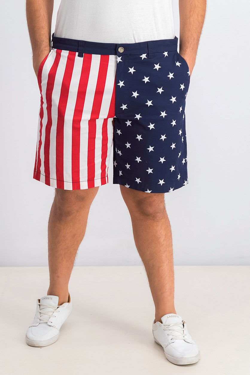 Men's American Flag Printed Shorts, White/Navy