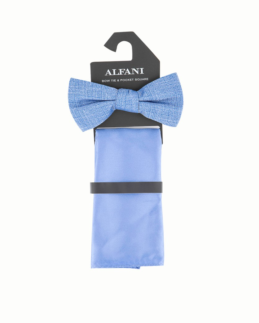 Men's Solid Slim Bow Tie & Pocket Square, Blue