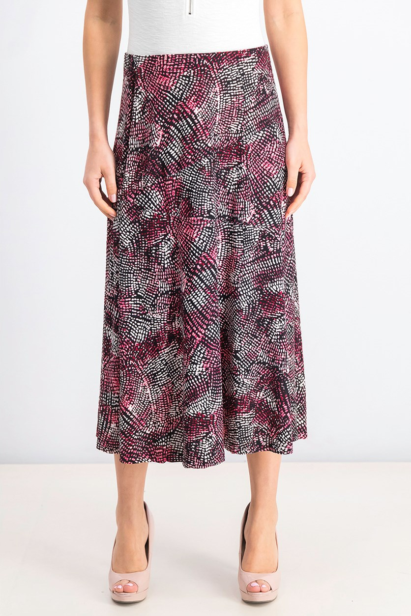 Women's Printed Midi Skirt, Reptilla Abstract