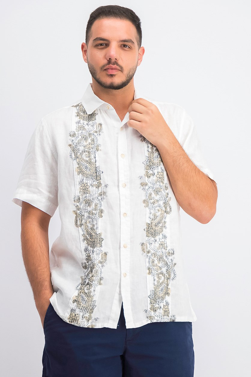 Men's Pintucked Paisley Panel Linen Shirt, White Combo