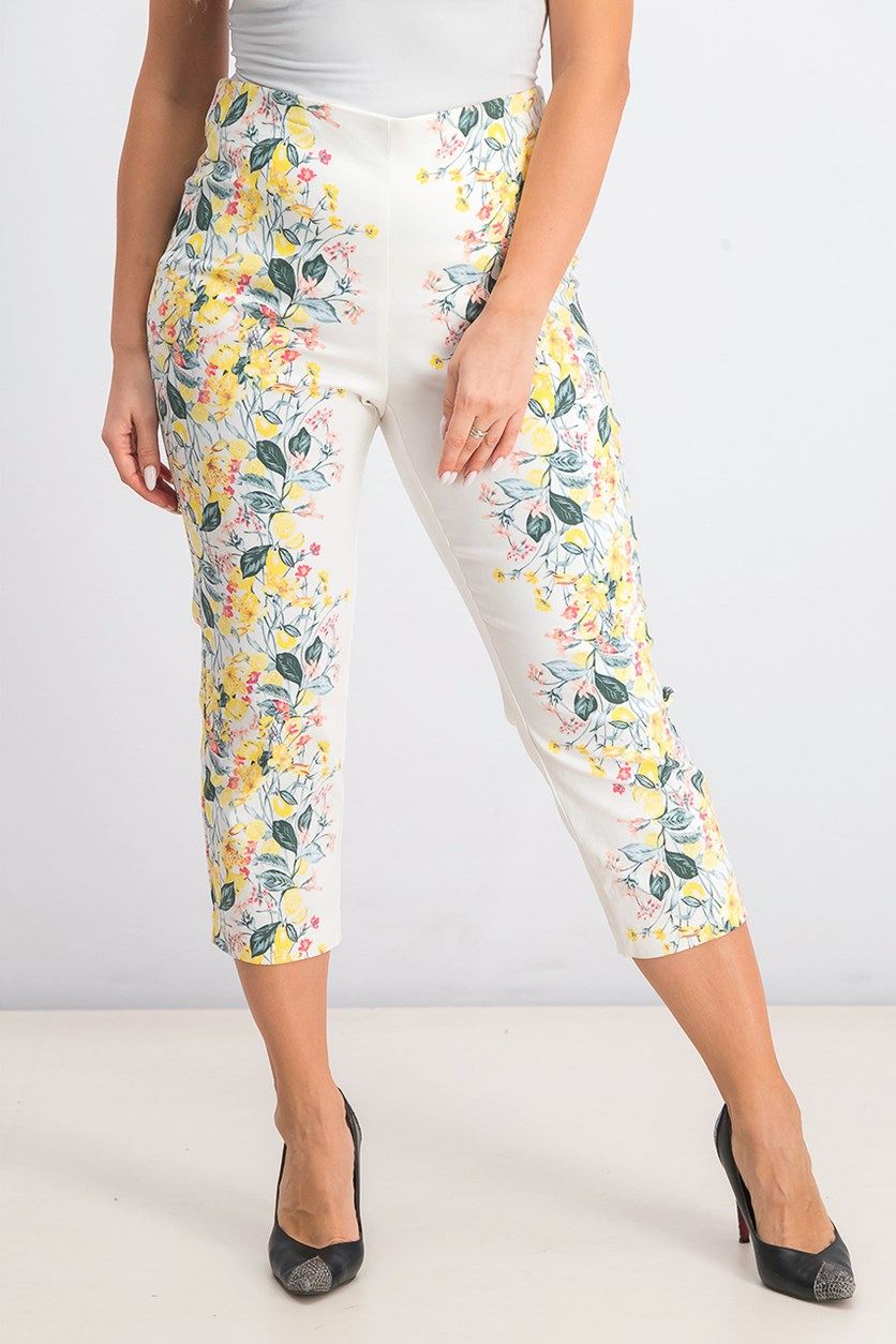 Women's Floral-Print Pull-On Pants, White/Yellow Combo