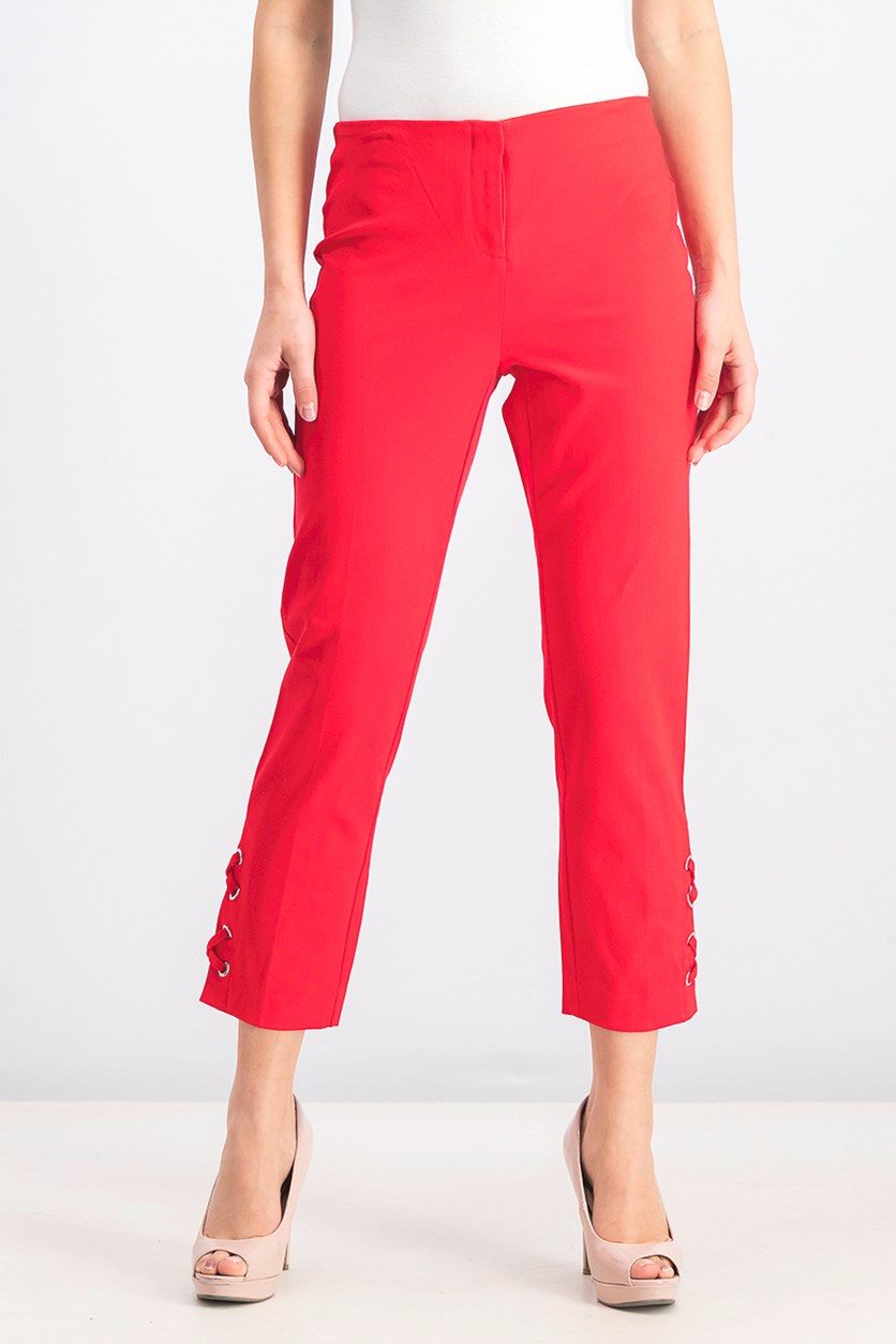 Women's Cropped Lace-up Pants, Chinese Red