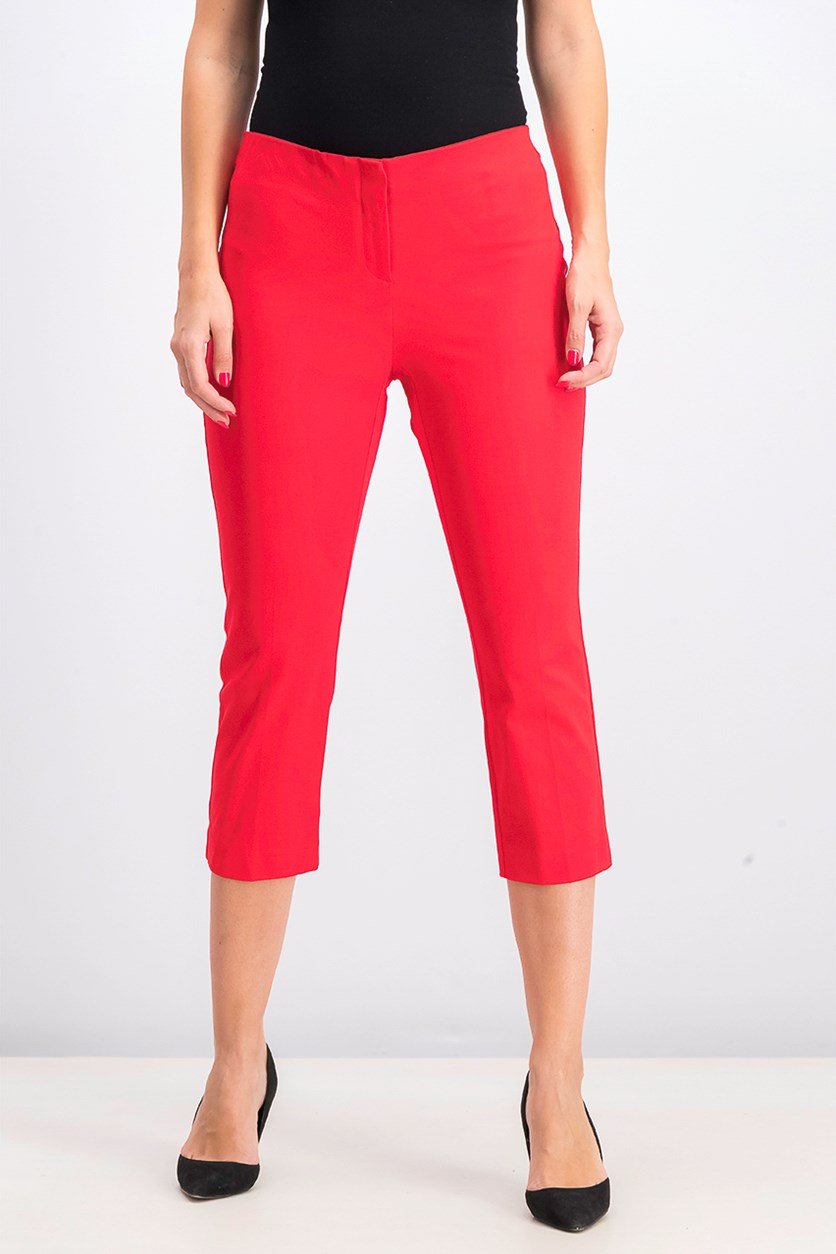 Women's Cropped Pants, Chinese Red