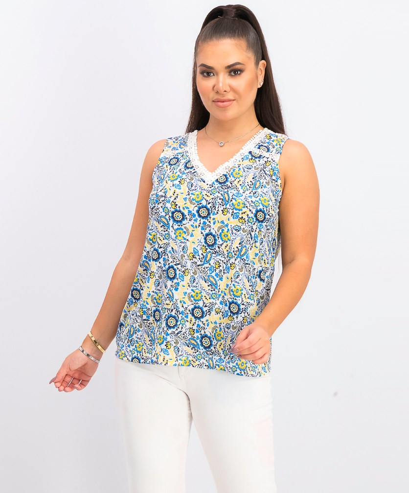 Women's Petite Floral Sleeveless Top, Folkloric