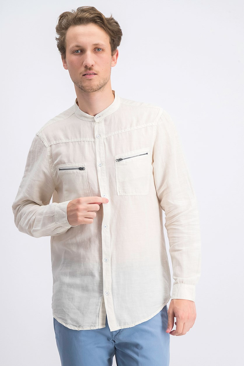 Men's Band-Collar Shirt, Bleached Oak