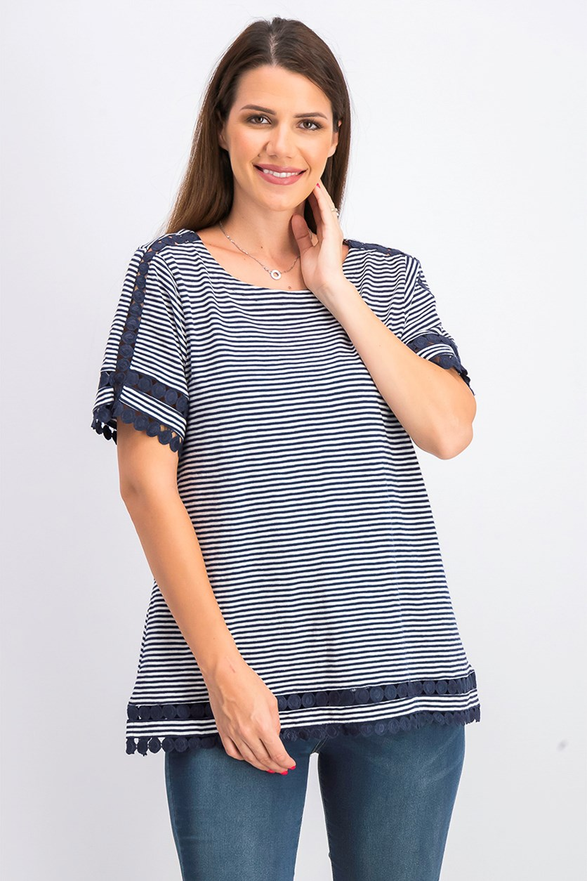 Women's Cotton Lace-Trim Striped Top, Navy/White
