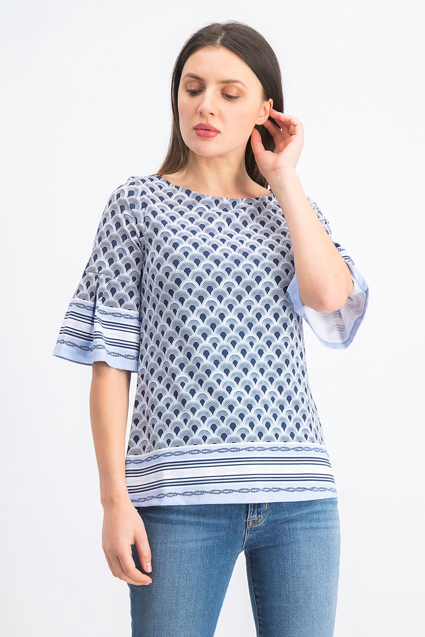 Women's Border-Print Flared-Sleeve Top, Intrepid Blue Combo