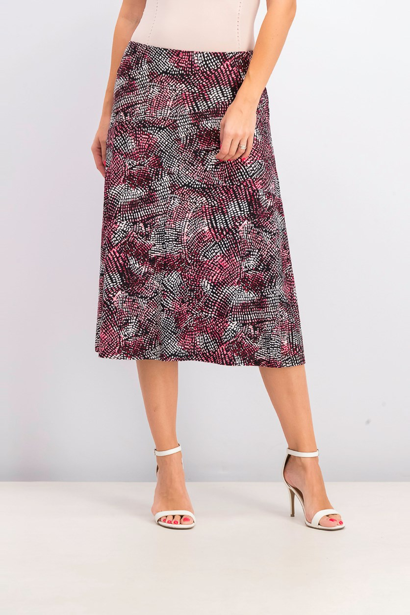 Women's Petite Printed A-Line Skirt, Black Combo