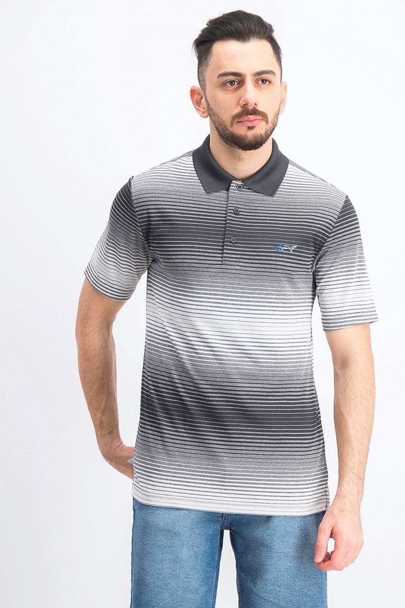 Men's Lambert Ombre Striped Polo Shirt, Grey