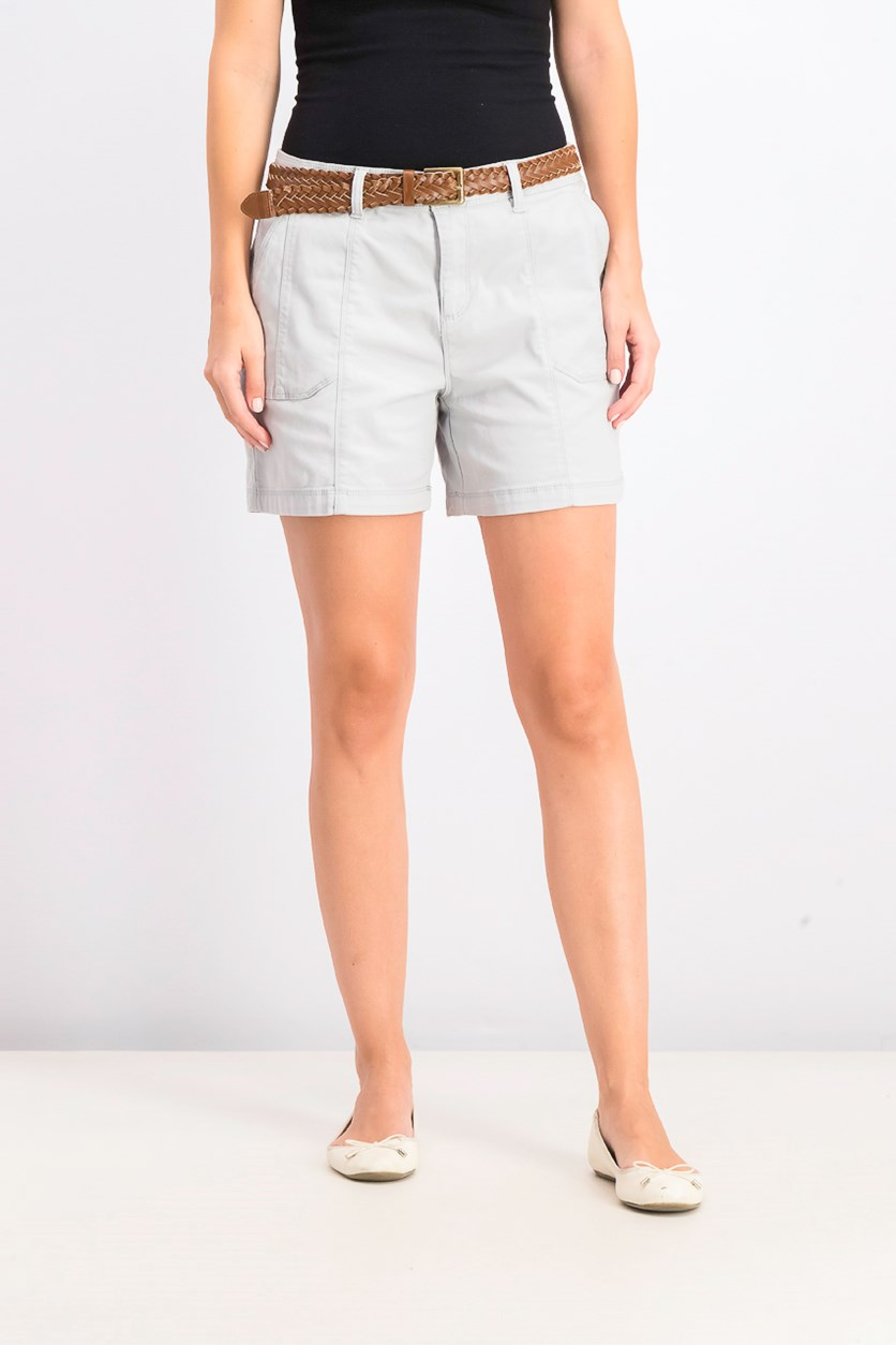 Women's Belted Utility-Pocket Shorts, Misty Harbor
