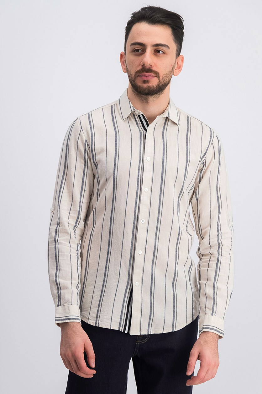 Men's Francis Striped Button-Down Shirt, Tan