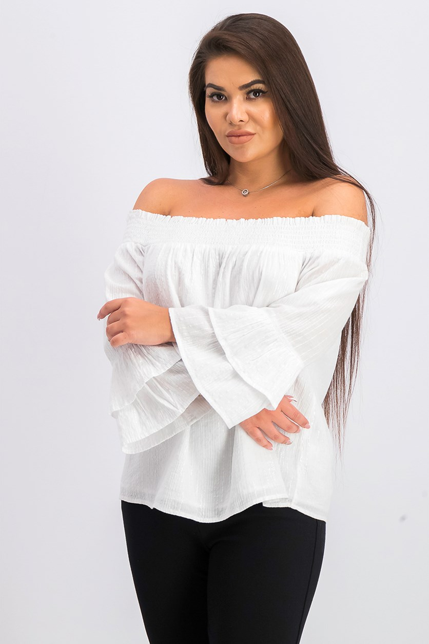 Women's Shine Off-The-Shoulder Top, Bright White