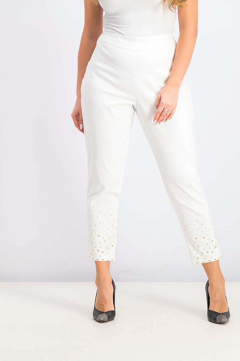 Women's Petite Embellished Slim-Fit Pants, White