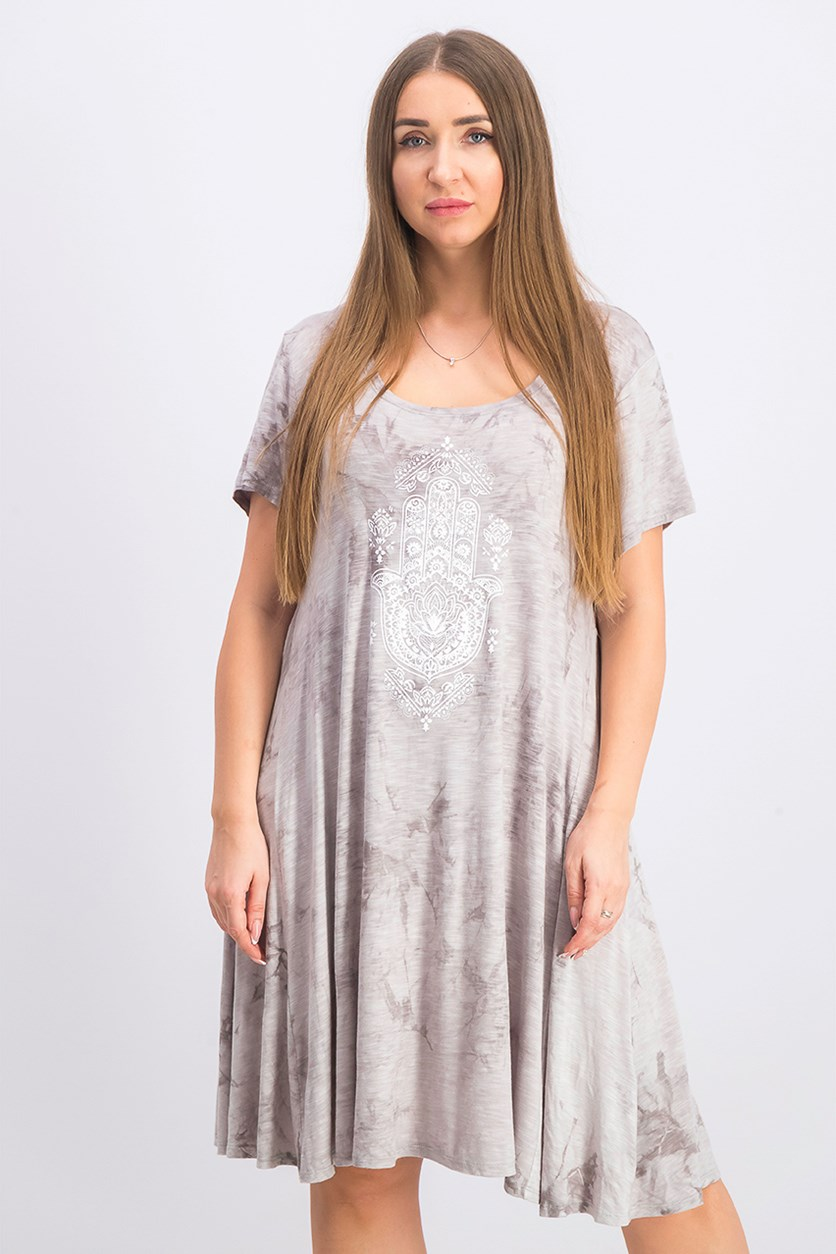 Women's Tie-Dyed Graphic T-Shirt Dress, Av Hamsa Grey