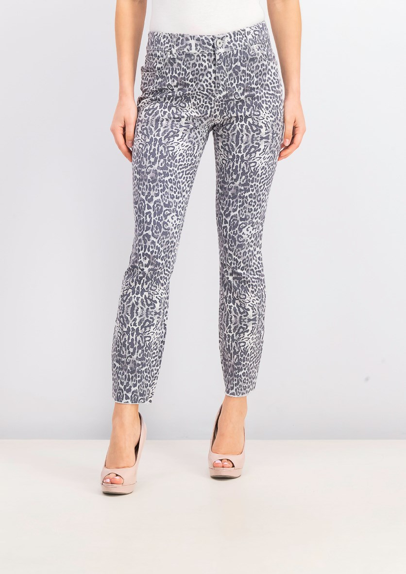 Women's Animal-Print Skinny Jeans, Snow Leopard