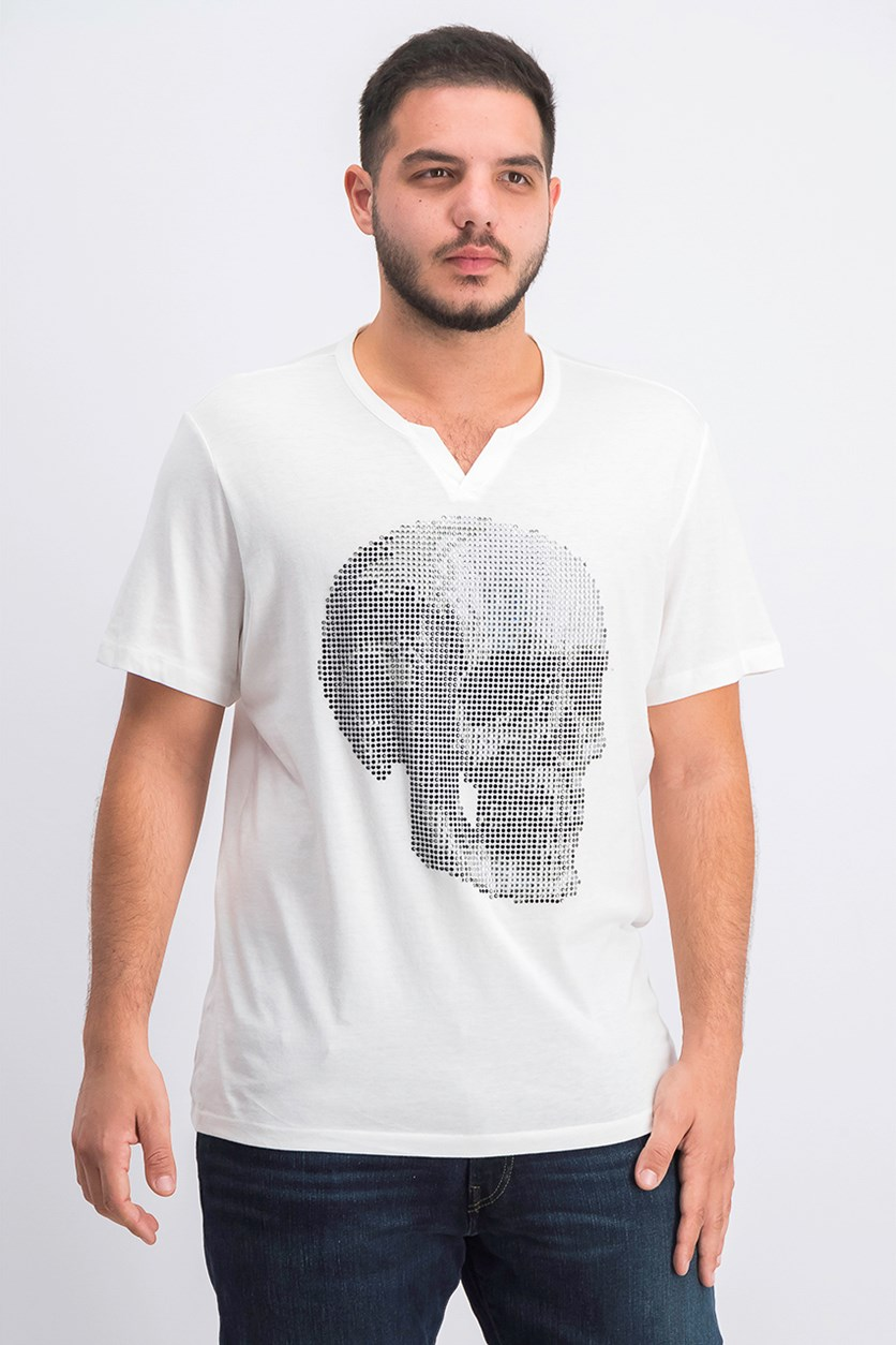 Men's Face Off Rhinestone Skull T-Shirt, White Pure