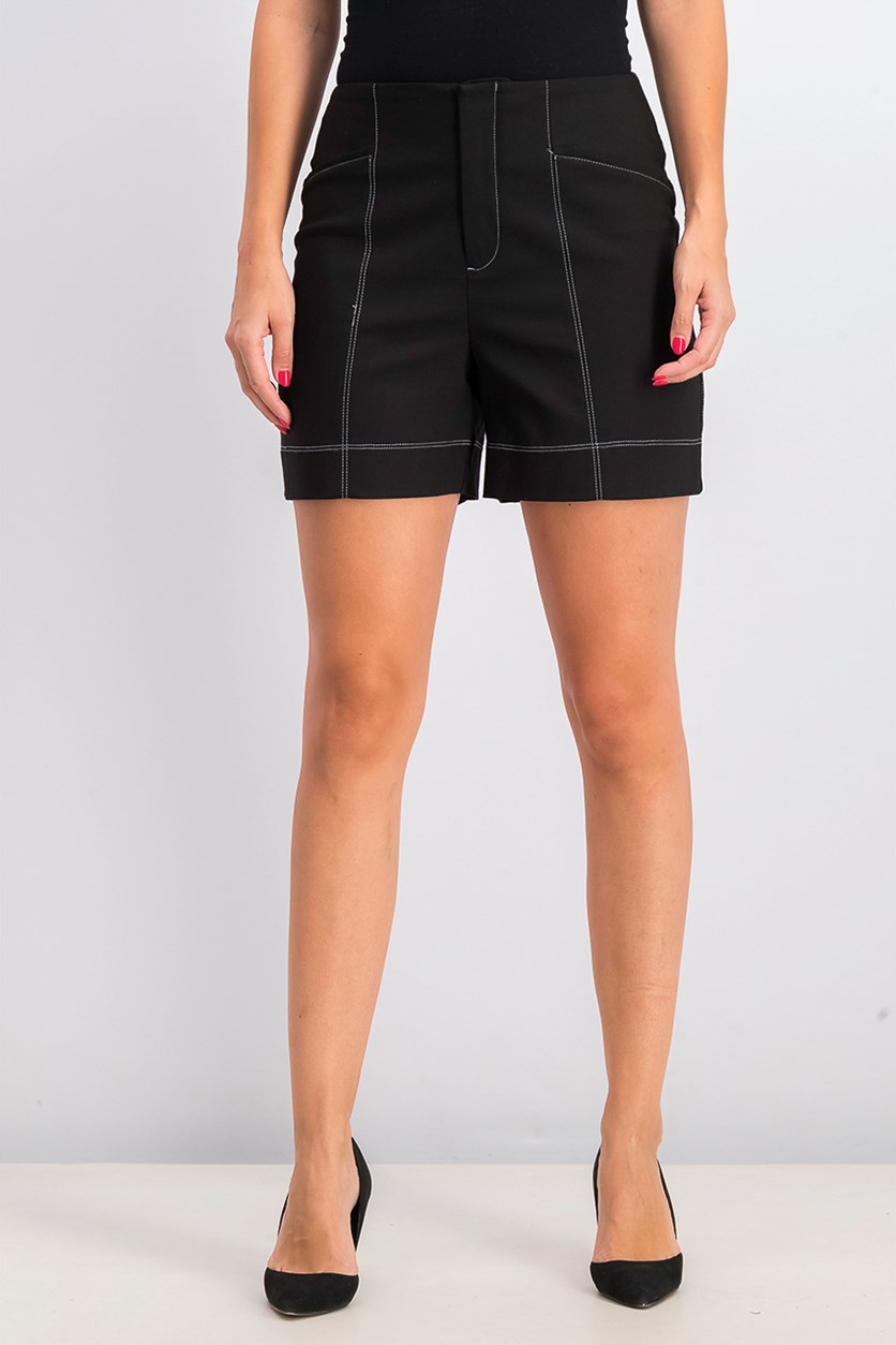Women's High Rise Contrast Shorts, Black