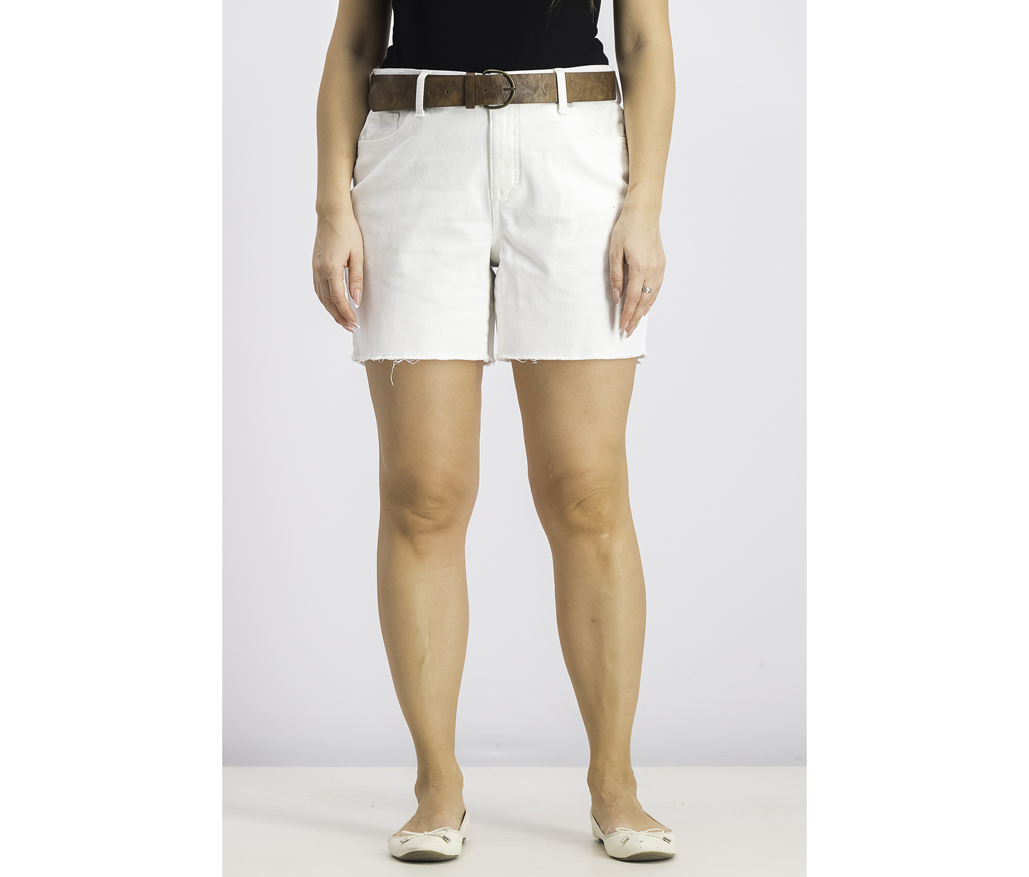 Women's Belted Denim Shorts, Bright White