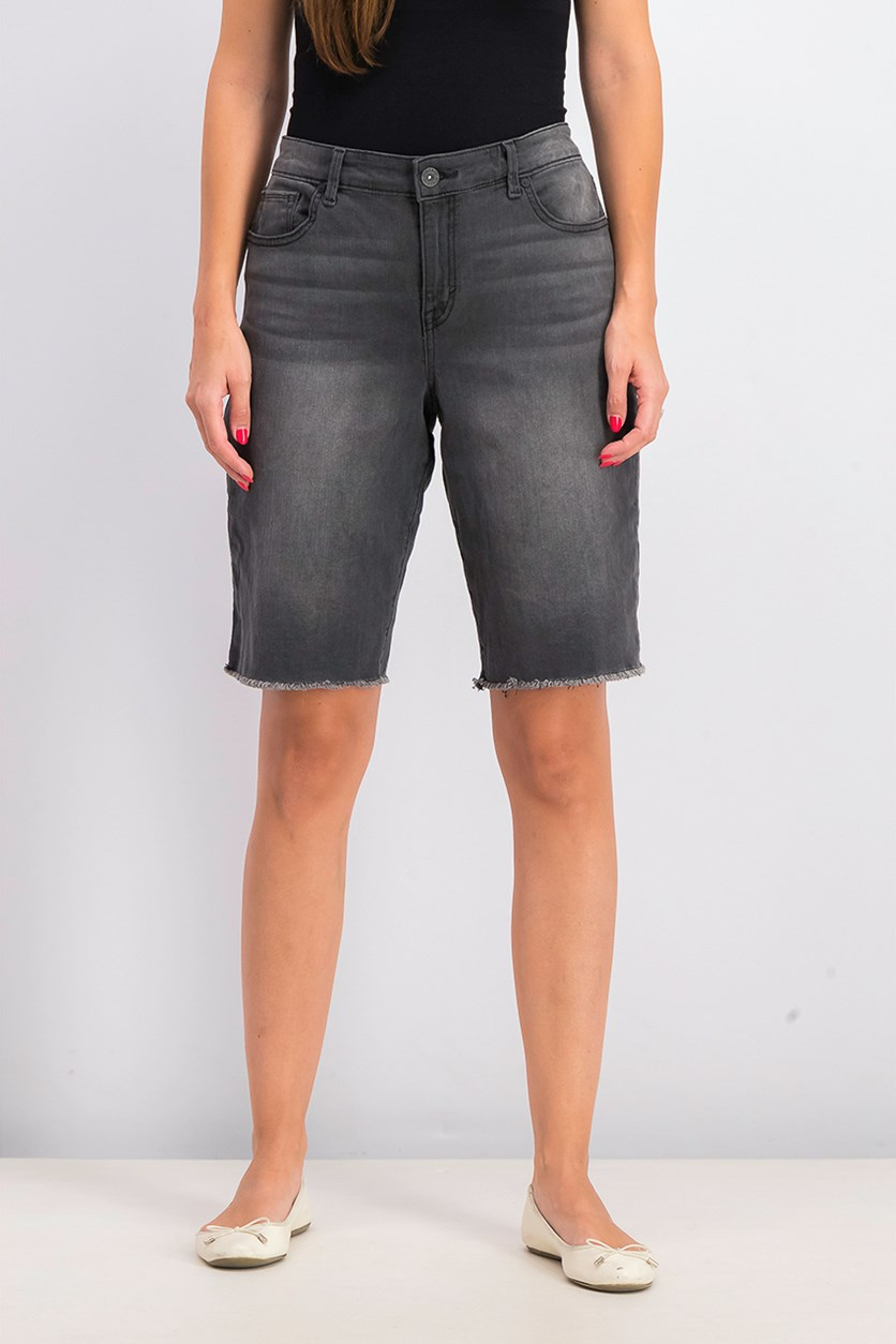Womens Denim Bermuda Shorts, Black Smudge