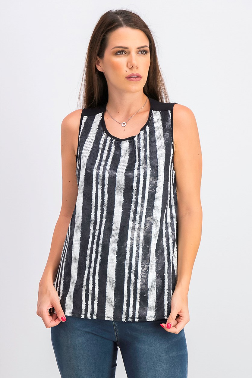Striped Sequined Tank Top, Black/White