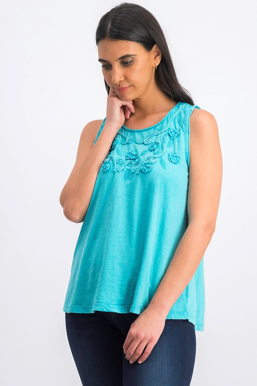 Women's Petite Cotton Soutache Swing Top, Fresh Water