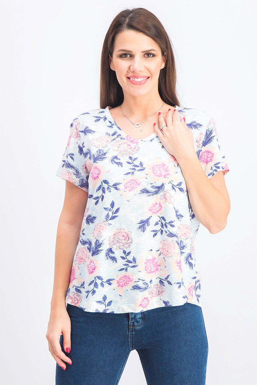Womens Petite Printed V-Neck T-Shirt, Floral Crush