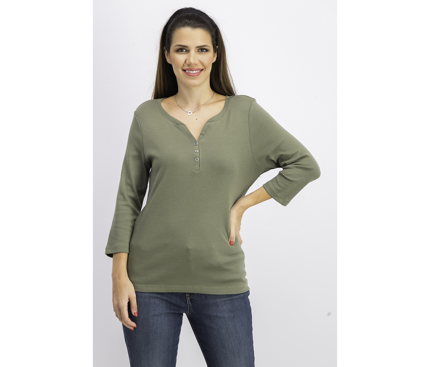 Women's Petite Cotton Henley Shirt, Olive Sprig
