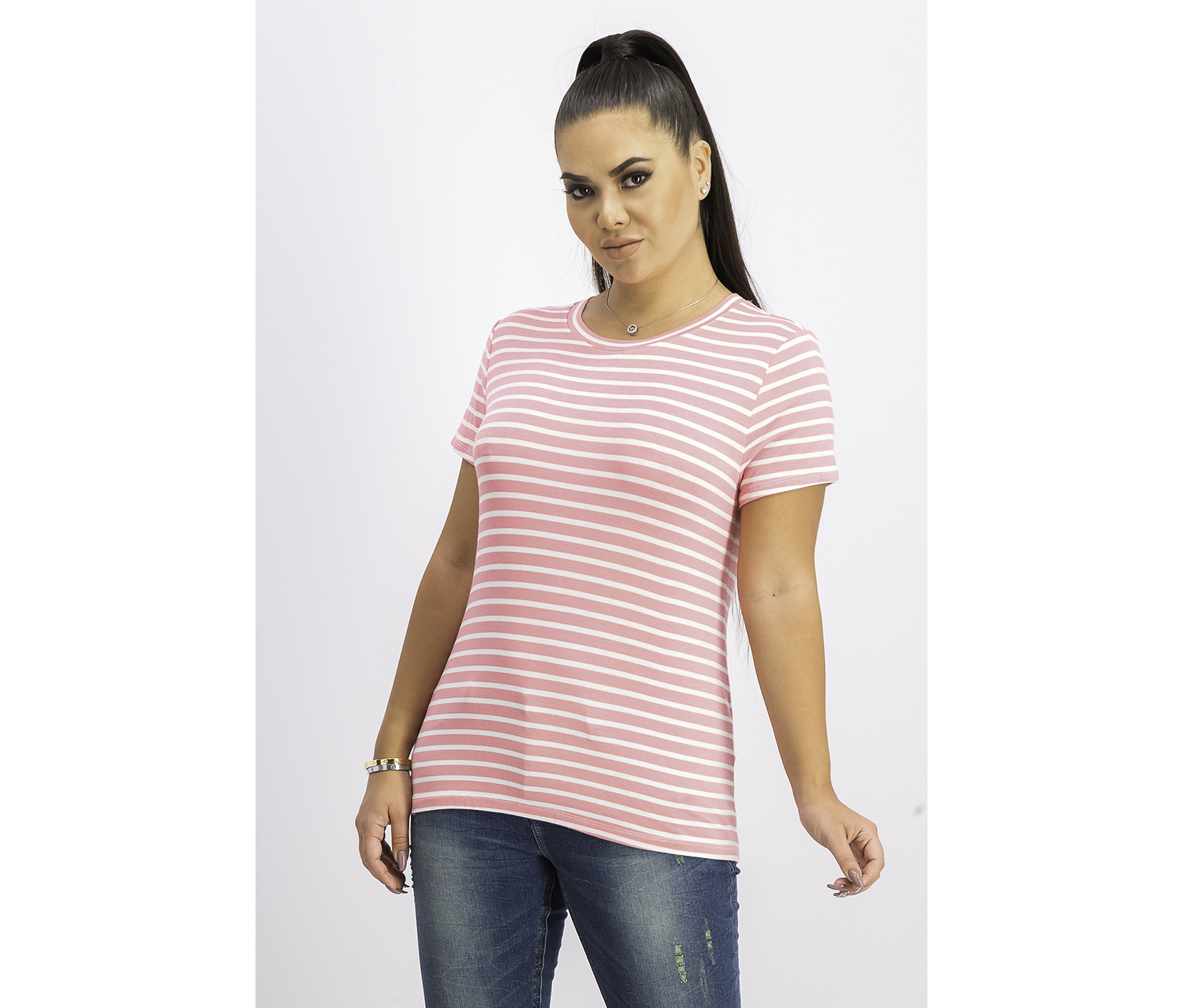 Women's Striped Tie-Neck T-Shirt, Pink Grapefruit