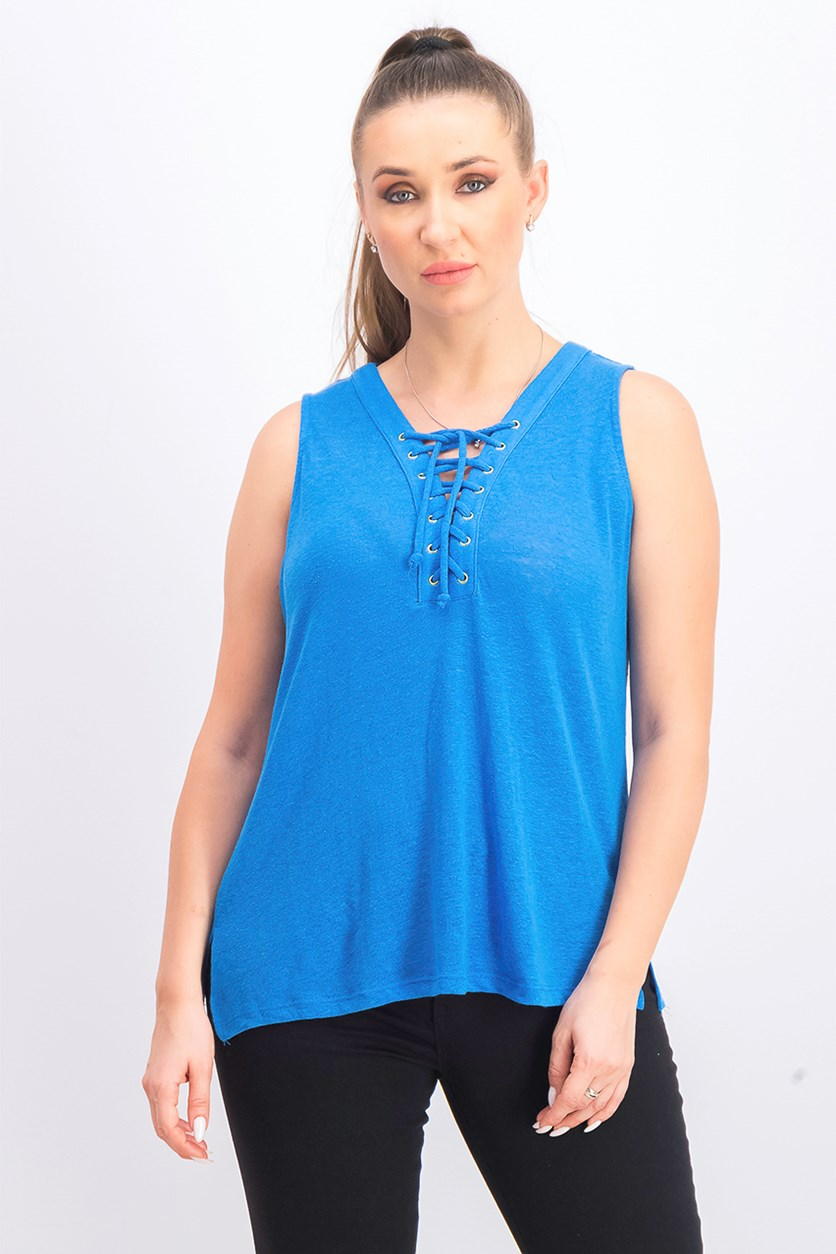 Women's Petite Lace-Up Top, Caribe Blue