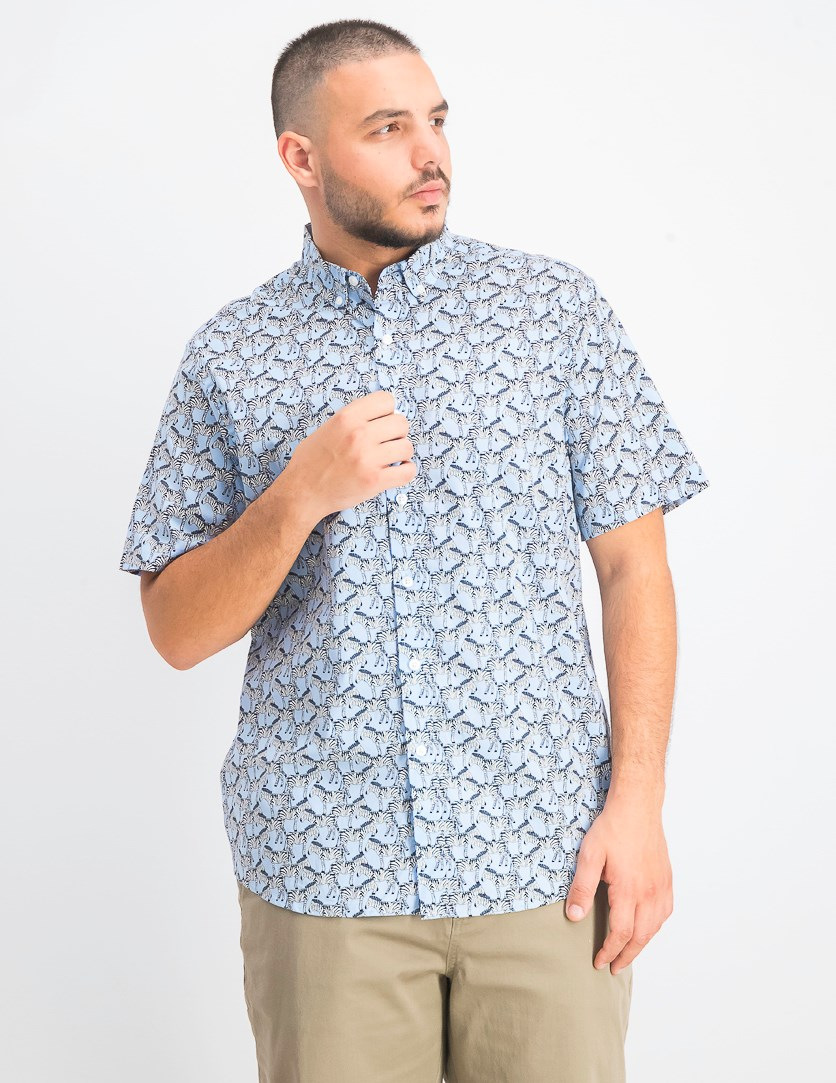 Men's Zebra Collared Printed Button-Down Shirt, Pale Ink Blue