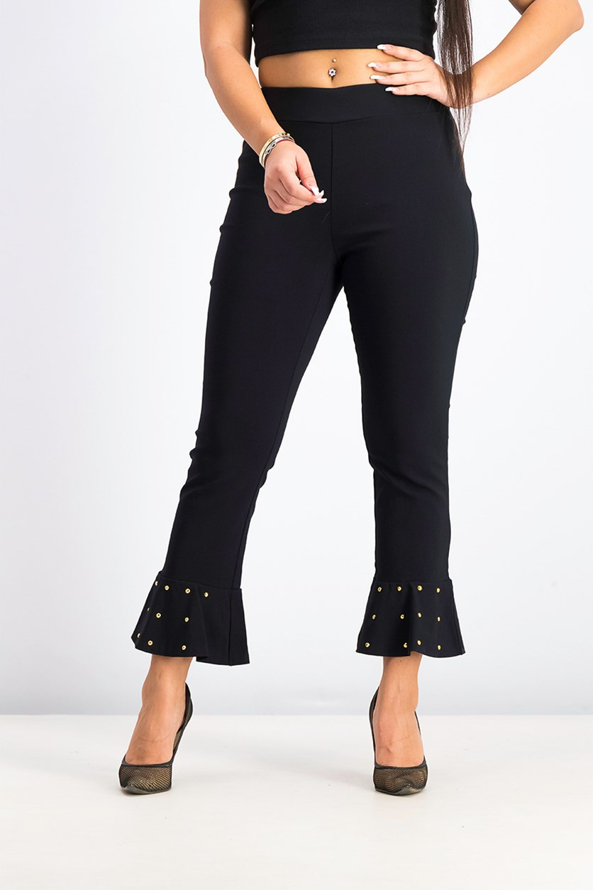 Women's Studded Ruffle-Hem Pants, Deep Black