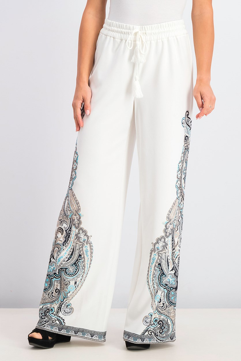 Women's Printed Wide-Leg Pants, Roman Paisley
